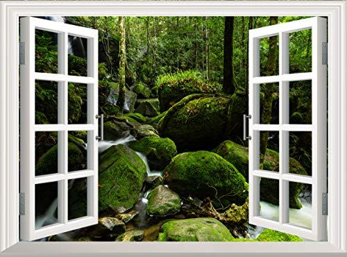 Smooth Waterfall 3D Window Wall Sticker Removable Wall Decal Poster Landscape Wall Mural Wallpaper Vinyl Decor (90x60 cm)