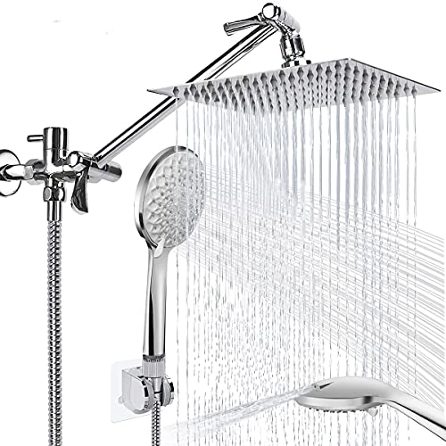 Shower Head, 8'' High Pressure Rainfall Shower Head / Handheld Showerhead Combo with 11'' Extension Arm, CUMIZON 6 Spray Settings Handheld Showerhead with Holder/ Hose, Flow Regulator, Chrome