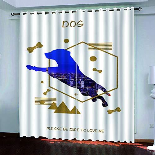 SSHHJ Cortinas Opacas Digitales 3D Adecuado para Cortinas De Hoteles, Dormitorios Y Balcones No Es Necesario Perforar Juego De 2 Piezas