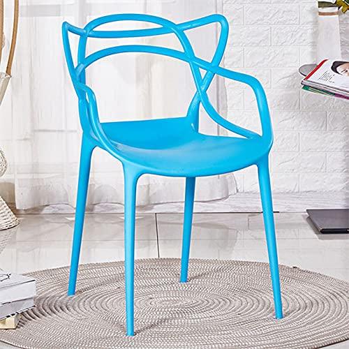 WellingA Juego sillas Comedor Modernas de 4 Piezas Silla jardín al Aire Libre, Silla Patio, sillón Oficina, apilable,Azul