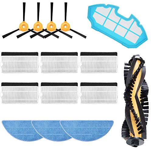 MIRTUX Kit de repuestos Conga Excellence y 990 Excellence. Pack de Accesorios de Recambio para Robots aspiradora Conga con Cepillo Lateral, Rodillo Central, filtros, prefiltro y mopa.