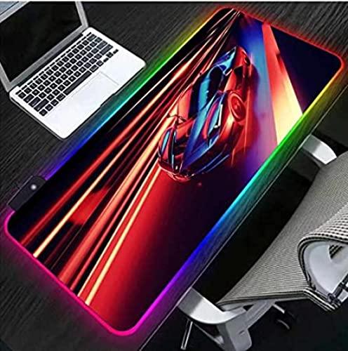 BOIPEEI Alfombrillas de ratón Alfombrilla de ratón LED Luminosa RGB para Coche Deportivo, Alfombrilla de ratón para Juegos Lock Edge Gamer XXL Alfombrilla para Juegos de Ordenador (30X80Cm
