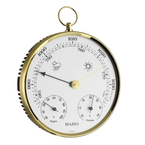 TFA Dostmann Analoge Wetterstation, mit Metallring, Barometer, Thermometer, Hygrometer