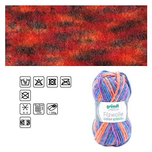 NEU Filzwolle Color, 100% Schurwolle, Oeko-Tex-Standard, 50g, 50m, Farbe 21, Rot-Mix