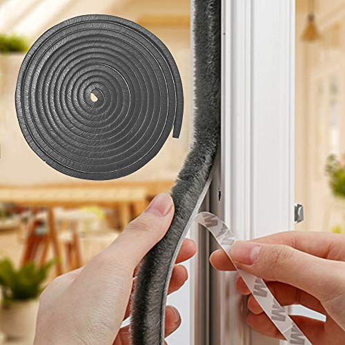 32.8 Feet Pile Weather Stripping for Door Self Adhesive Brush Window Seal Strip Weatherstrip for House Weatherproof Soundproof Dustproof Windproof Door Seal Strip 0.35x0.35Inch Gray