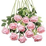 Decpro 12 Piezas de Rosas Artificiales, Flor de Seda de un Solo Tallo Largo de 19.7'' para Ramos de Novia, decoración de Hotel de Oficina, centros de Mesa, arreglos Florales(Rosado)