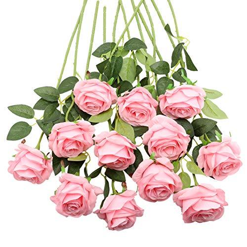 Decpro 12 STK Künstliche Rosen, 19,7 Zoll Single Long Stem Seidenblüte Gefälschte Blume für Braut Hochzeitssträuße, Home Party Office Hotel Dekoration, Mittelstücke, Blumenarrangements(Rosa)