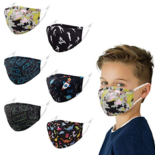 Kids Face Mask Facemask Reusable, Cute Cotton Adjustable Girl Boy Child Toddler Comfortable Youth Funny Size Washable Black Camo Dinosaur Colorful Game Cloth Design Coverings Dust Camouflage Sports