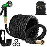HOMOZE 100FT Expandable Garden Hose Pipe Expanding Flexible Water Hose with Solid Brass