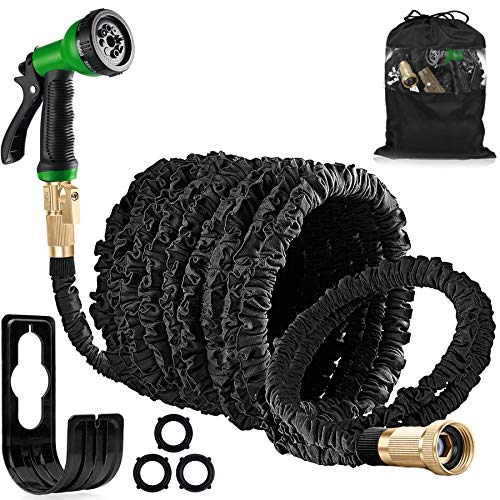 AOKUN Garden Hose Expandable Garden Water Hose Pipe with Solid Brass Fittings, Anti-Leakage - Flexible Expanding Hose with 8 Function Spray Nozzle (100ft)