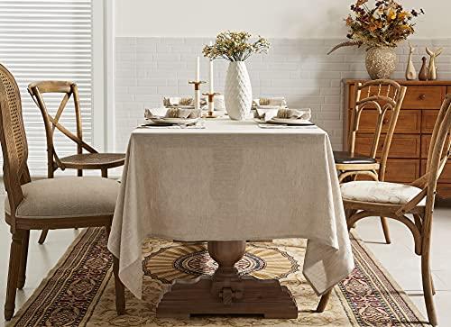 DAPU Mantel de lino puro, 100 % lino francés, resistente a las manchas, rectangular, 140 cm x 220 cm, lino natural