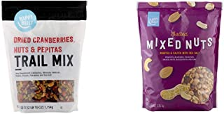Amazon Brand - Happy Belly Dried Cranberries, Nuts & Pepitas Trail Mix, 42 oz & Happy Belly Salted Mixed Nuts, 44 Ounce