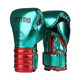 Crrs Guantes de Boxeo MMA Saco de Boxeo Muay Thai Artes Marciales Entrenamiento niños y Adultos tamaños Guantes de Boxeo 6oz, 8oz, 10oz, 12oz,Verde,12oz