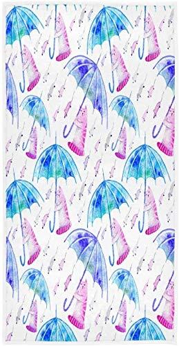 Gato ratón y paraguas toalla de cara toalla de pelo juego super, toallas de mano rápida toalla de playa, toalla de baño toallas de baño decorativas cara de mano, toallas de mano ultra toalla de mano