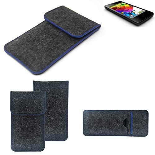K-S-Trade® Filz Schutz Hülle Für Mobistel Cynus E4 Schutzhülle Filztasche Pouch Tasche Case Sleeve Handyhülle Filzhülle Dunkelgrau, Blauer Rand