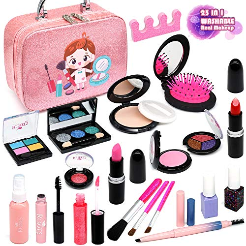 top toys for children in 2021 Enjoybot Girls Makeup kit Toy Kids - 2021 Newest 23PCS Kids Makeup Kit for Girls ,Real Kids Makeup Toys , Washable Dress up Mermaid Real Makeup Toys. Best Girl Gifts for 3/4/5/6/7