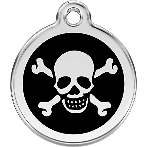 Red Dingo Personalized Skull & Cross Bones Pet ID Dog Tag (Large Black)