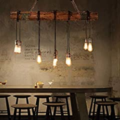 N/Z Daily Equipment Lighting Pendant Light Ceilings Chandelier American style Loft Retro Industrial Wind Chandelier Nostalgic Restaurant Bar Solid Wood Lamp Head Chandelier #1