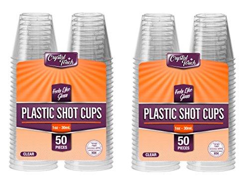 Vasos de chupito desechables de plástico duro. Transparentes, resistentes y reutilizables. 30ml(100unidades).