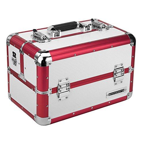 anndora Beauty Case Kosmetikkoffer Schmuckkoffer 20 Liter - Aluminium Rot Weiß
