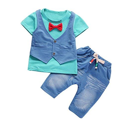 Heet!! !Baby Jongens Meisjes Outfits Peuter Kinderen Korte Mouw T-Shirt Tops +Broek Jeans Gentleman Kleding Set Zomer Herfst Kleding Tracksuit Leuke Bow Patroon 2 Stuk Sets voor 1-4 Jaar