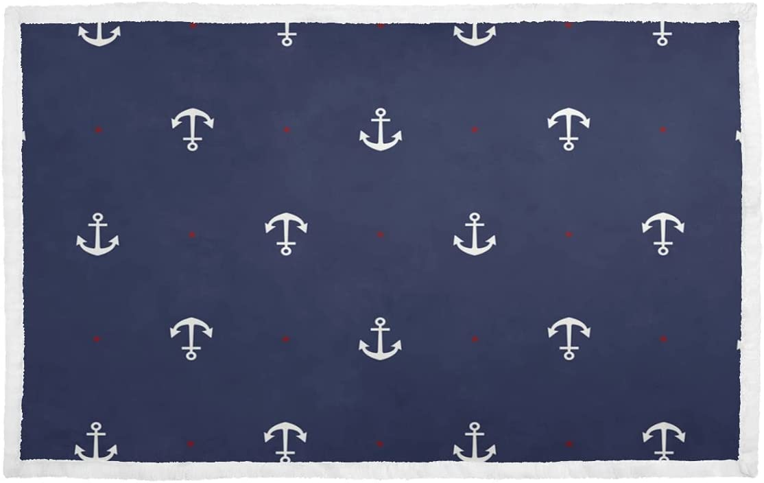 Soft SEAL limited product Dog Blanket Blue Cute Blankets Metal Puppy Sales results No. 1 Navy Anchor