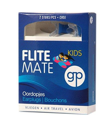 Bouchons d'oreilles Get Plugged Flite Mate Kids à utiliser dans l'avion, pour voyager et pour conduire en montagne. Convient aux enfants et aux personnes ayant de petites oreilles. 1 paire