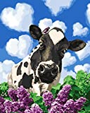 Flower Cow DIY Paint by Numbers Kit with Brushes and Acrylic Paints Birthday Gifts for Adults Kids Beginner Paint on Canvas 4050 cm 1620 inch (Without Frame)