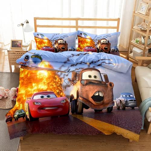 QWAS McQueen – Funda nórdica para coche, funda de edredón, ropa de cama, impresión digital 3D (L4,200 x 200 cm + 50 x 75 cm x 2)