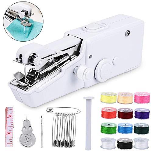 Handnähmaschine Mini Handheld Nähmaschine, Tragbar Elektrische Handnähmaschine Schneller Handlicher Stich für Stoff Kleidung Kindertuch (Weiß)