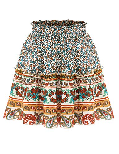 Bbonlinedress Damen Rock Röcke Sommerrock Minirock Kurz Röcke Skirts im Sommer B-Ivory S