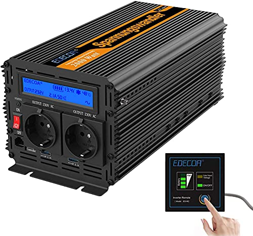 EDECOA Convertisseur 12v 220v onduleur 2000w avec télécommande 2x USB et écran LCD transformateur de tension onde sinus modifiée convertisseur 12v 230v