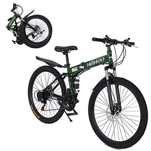 【Ship from USA】 Folding Mountain Bike for Men & Women - 26'' Wheel 21 Speed Full Mountain Bike for Adults & Teens | Lightweight Foldable City Commuter Bike Road Bike Outroad Bike (A-Green)