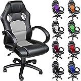 TecTake Chaise fauteuil siège de bureau hauteur réglable sportive - diverses couleurs au choix - (Gris)