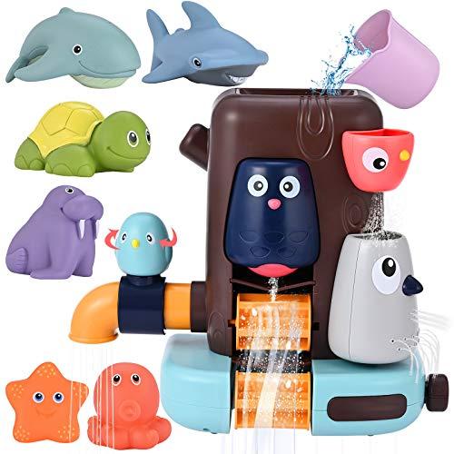 GOLDGE Badewannenspielzeug Badespielzeug Wasserspielzeug Wasserspielzeug mit Tintenfisch Seestern Schildkröte Seelöwe Wal Hai für Badespielzeug für Kinder ab 6 Monaten (Wolkenelefant)