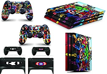 giZmoZ n gadgetZ Superhero Skins for PS4 Playstation 4 PRO Console Decal Vinal Sticker + 2 Controller Set