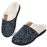 Women's Memory Foam Slippers Comfort Wool-Like Plush Fleece Lined House Shoes for Indoor & Outdoor (Green, 38/39)