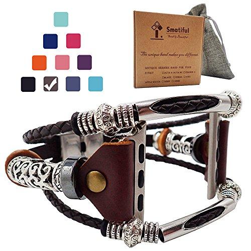 Smatiful Leather Cinturino per Donna Un Uomo, Adjustable di Ricambio Accessori Sport Cinturini per Apple Watch Series 1,2,3 42mm & Series 4,5 44mm Smartwatch,Marrone