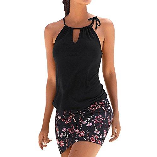 Logobeing Ropa de Mujer Vestidos Falda Chaleco Vestido Mini Playa Sin Mangas con Estampado Retro Camisetas Verano (Negro, M)