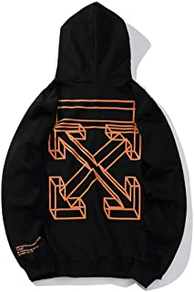 Percy Off OW 3D Orange Sketch Box Arrow line Men and Women Hooded Sweater Hoodie