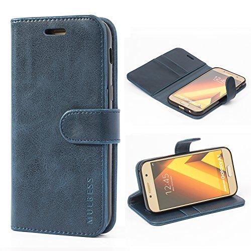 Mulbess Handyhülle für Samsung Galaxy A5 2017 Hülle, Leder Flip Case Schutzhülle für Samsung Galaxy A5 2017 Tasche, Dunkel Blau