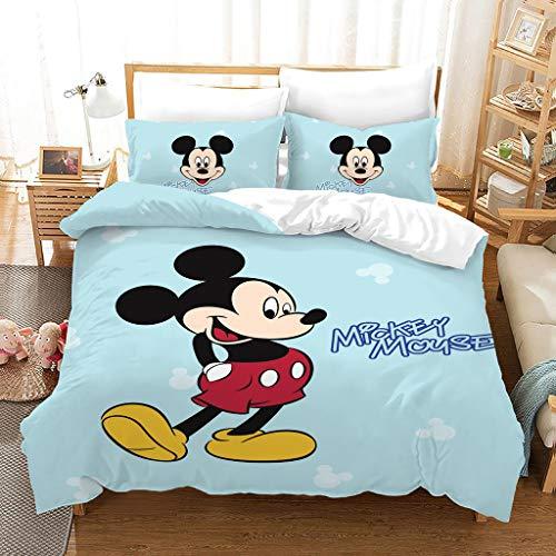 Juego de ropa de cama infantil de SSIN Disney Mickey Minnie para niña, funda nórdica y funda de almohada, microfibra, impresión digital 3D, juego de 3 piezas, A3., 200 x 200 cm
