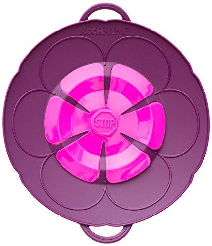 Kochblume, Überkochschutzdeckel in Blumenform, Größe: XS, Silikon, dunkelviolett, 22 cm