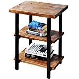 "WELLAND 3-Tier High End Table | Rustic Side Table for Living Room & Bedroom | Made of Solid Pinewood with Espresso Finish Shelf and Matte Black Iron Frame | Easy to Assemble | 20""W x 15""D x 27""H"