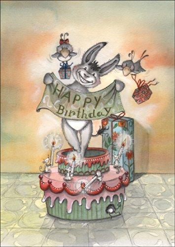 Grappige verjaardagskaart met ezel, die uit de taart springt: Happy Birthday • rechtstreeks verzenden met uw tekst als inlegger • mooie wenskaart met envelop zakelijk & privé
