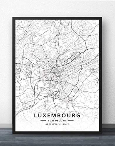 Leinwand Bild,Luxemburg Stadtplan Einfache Wandkunst Schwarz Weiß Pop Poster Minimalistische Malerei Modulares Büro Leben Personalisierte Kultur Tinte Raumdekoration, 60 Cm X 80 Cm / 23,6 * 31,5 Zo