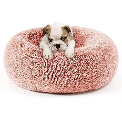 WOERD Cama de Mascotas Interior Donut, Redondo Cama para Perros de Felpa, Lavable Invierno de Felpa Calentito Cojín de Gatos Antideslizante, Cama Sleeping para Mascotas Gatos y Perros