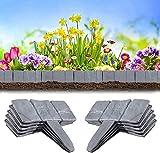 FDCAI - Bordo per prato in plastica effetto pietra, bordo per prati, bordo per piante, martello in Cobblestone da giardino, aiuole e erba, per casa, giardino, decorazione, grigio (20 pezzi / 5 m)