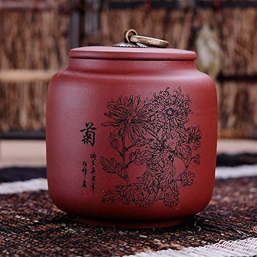 ZWSHOP Violet sable Tea Caddy, peut contenir 125g thé, Chrysanthème peint à la main, l'argile rouge, réservoir de stockage des ménages