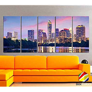 Original by BoxColors XLARGE 30 x 70  5 Panels 30 x14  Ea Art Canvas Print Beautiful Austin tx skyline light buildings Multicolor Wall Home Office decor ( framed 1.5  depth)